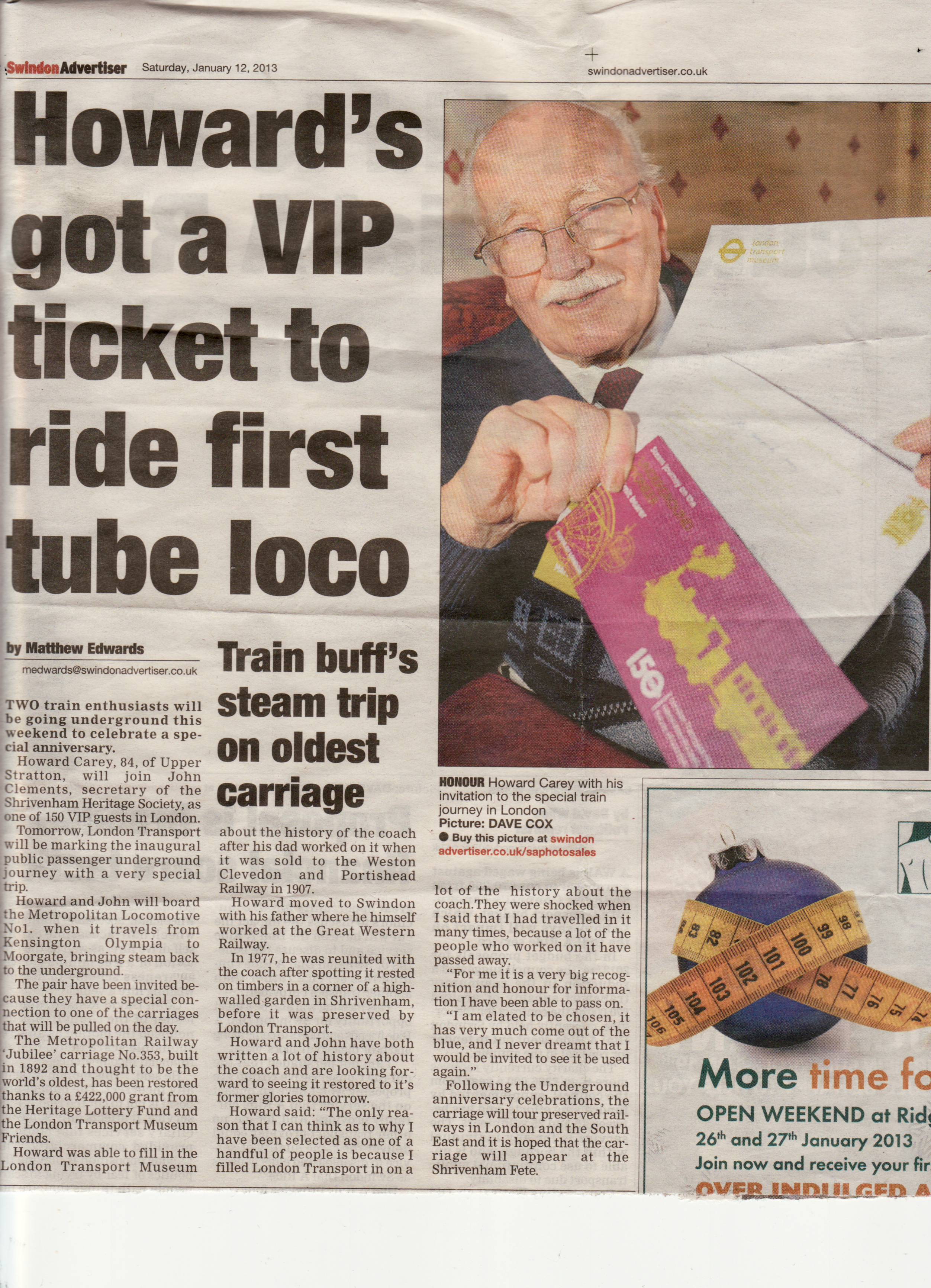 Newspaper Article ref trip to see the restored Carriage