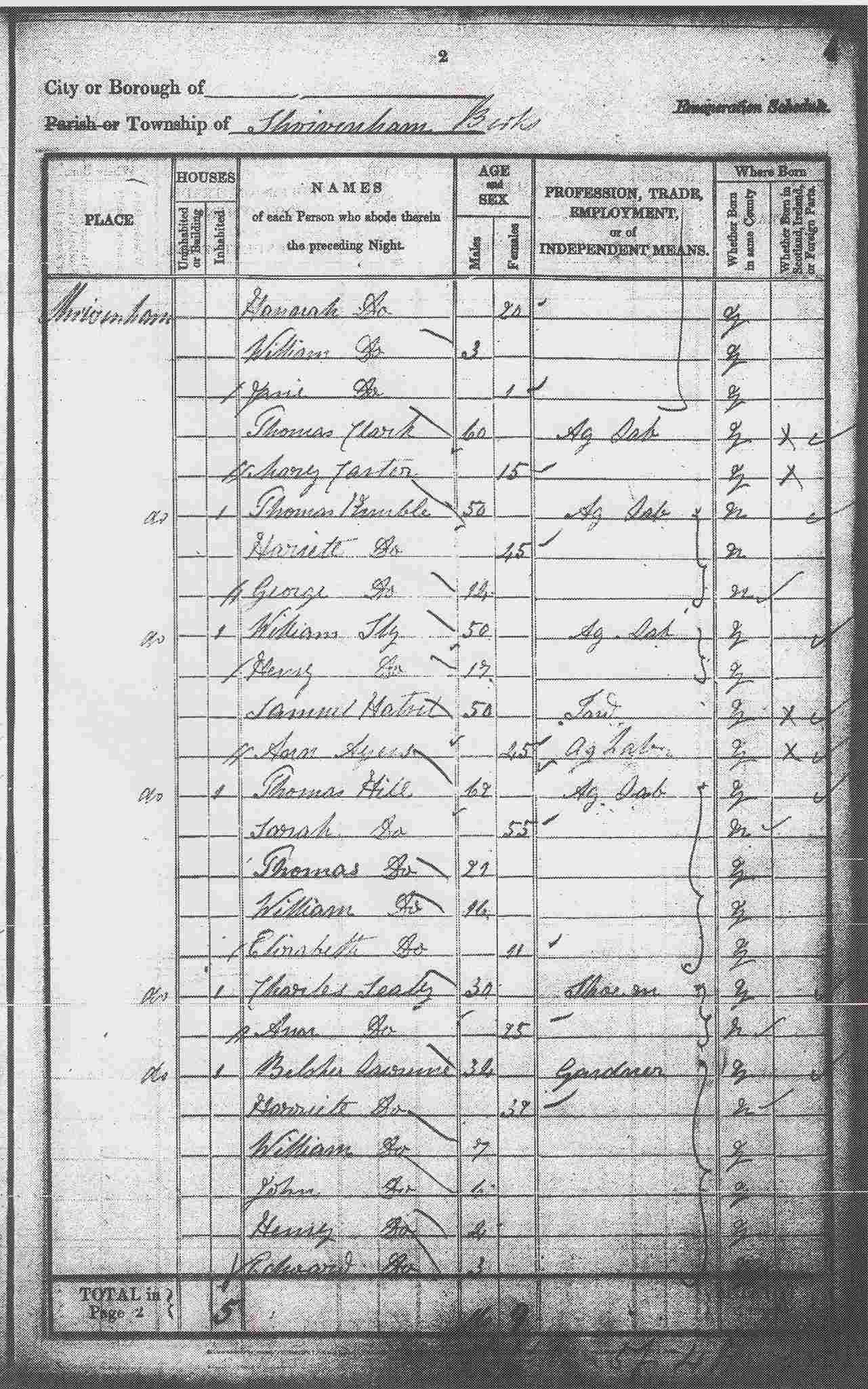 A page from the Census of 1841