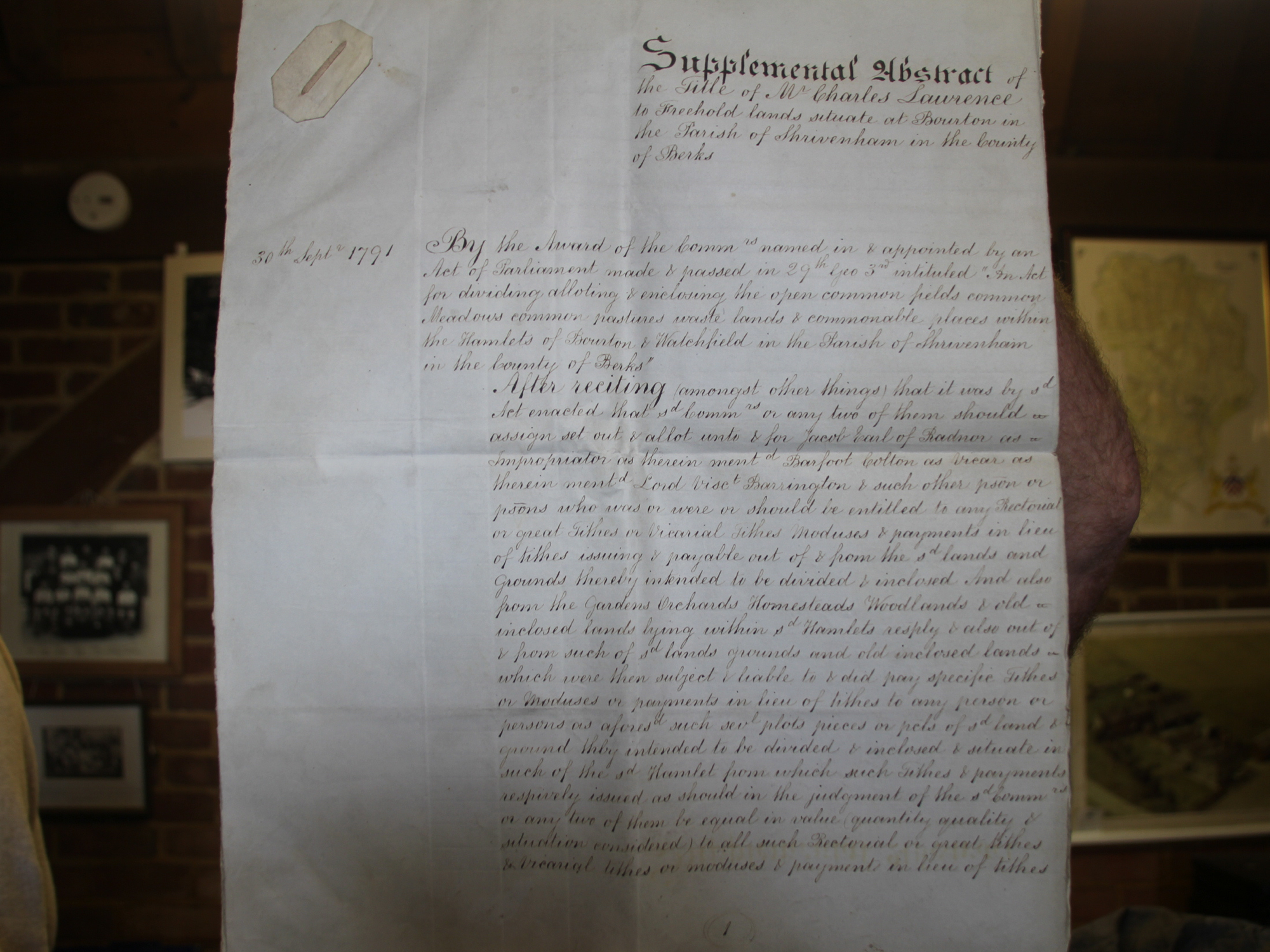 Supplemental Abstract of title of lands at Bourton to Charles Lawrence