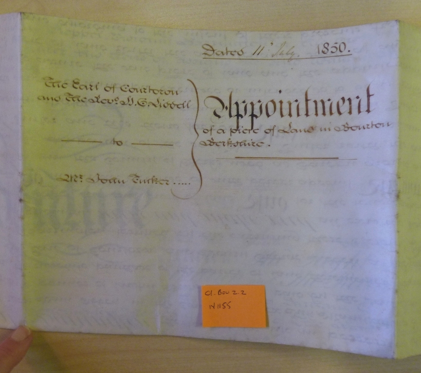 Appointment of a piece of land in Bourton 1850