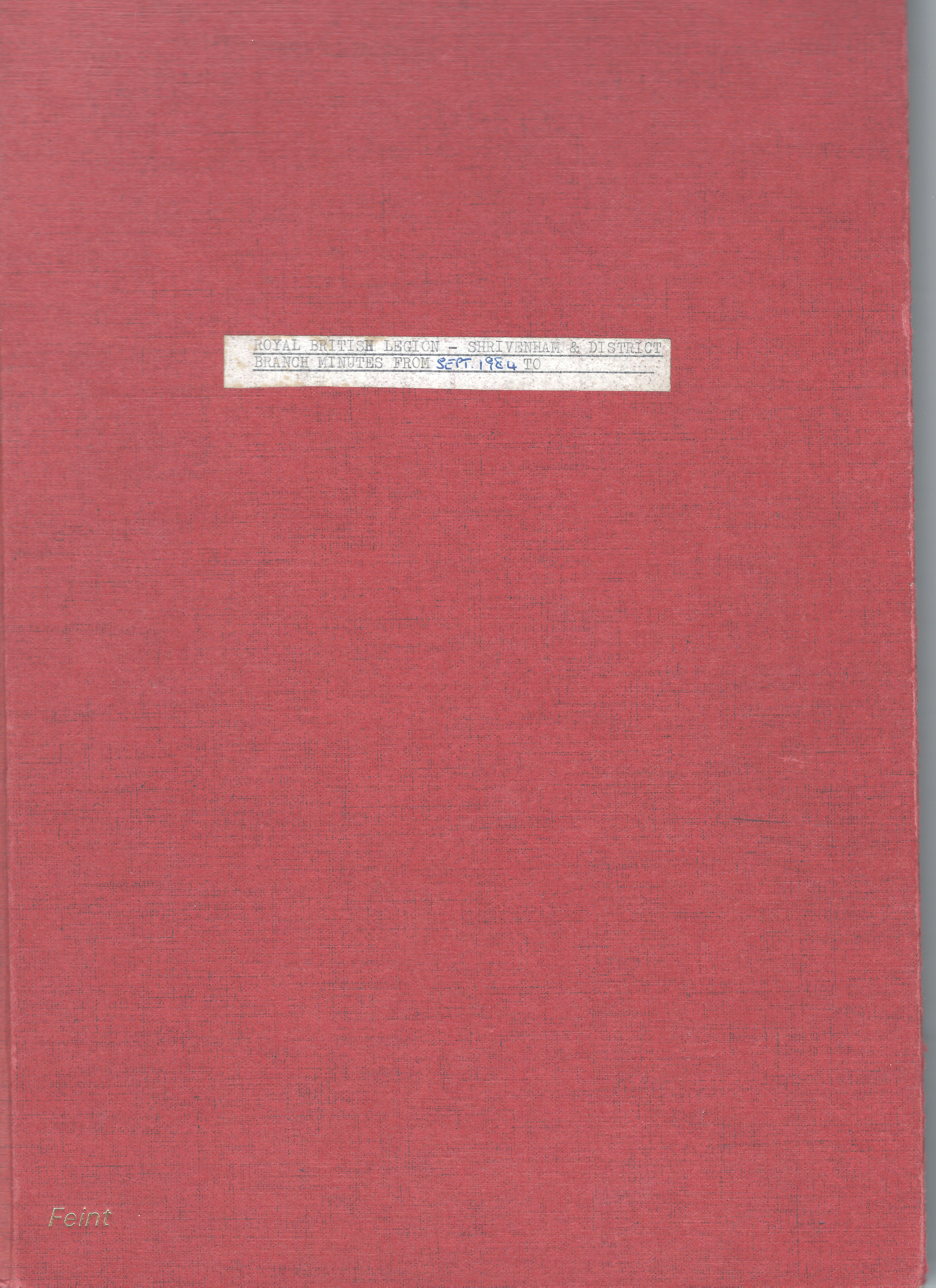 Front cover of Minute Book