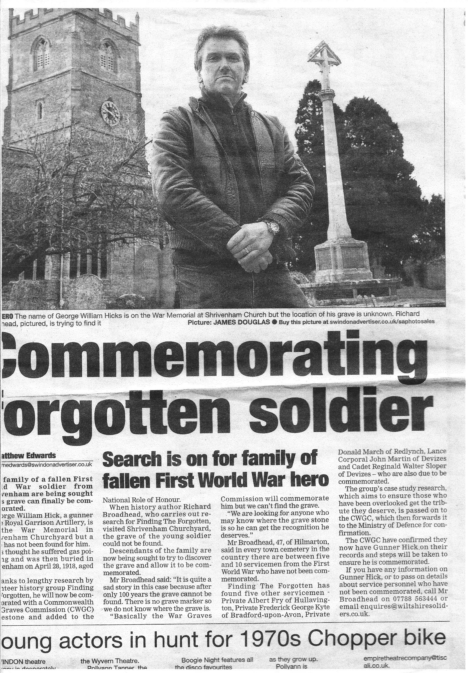Late C20th newspaper report of search for Gunner Hicks grave