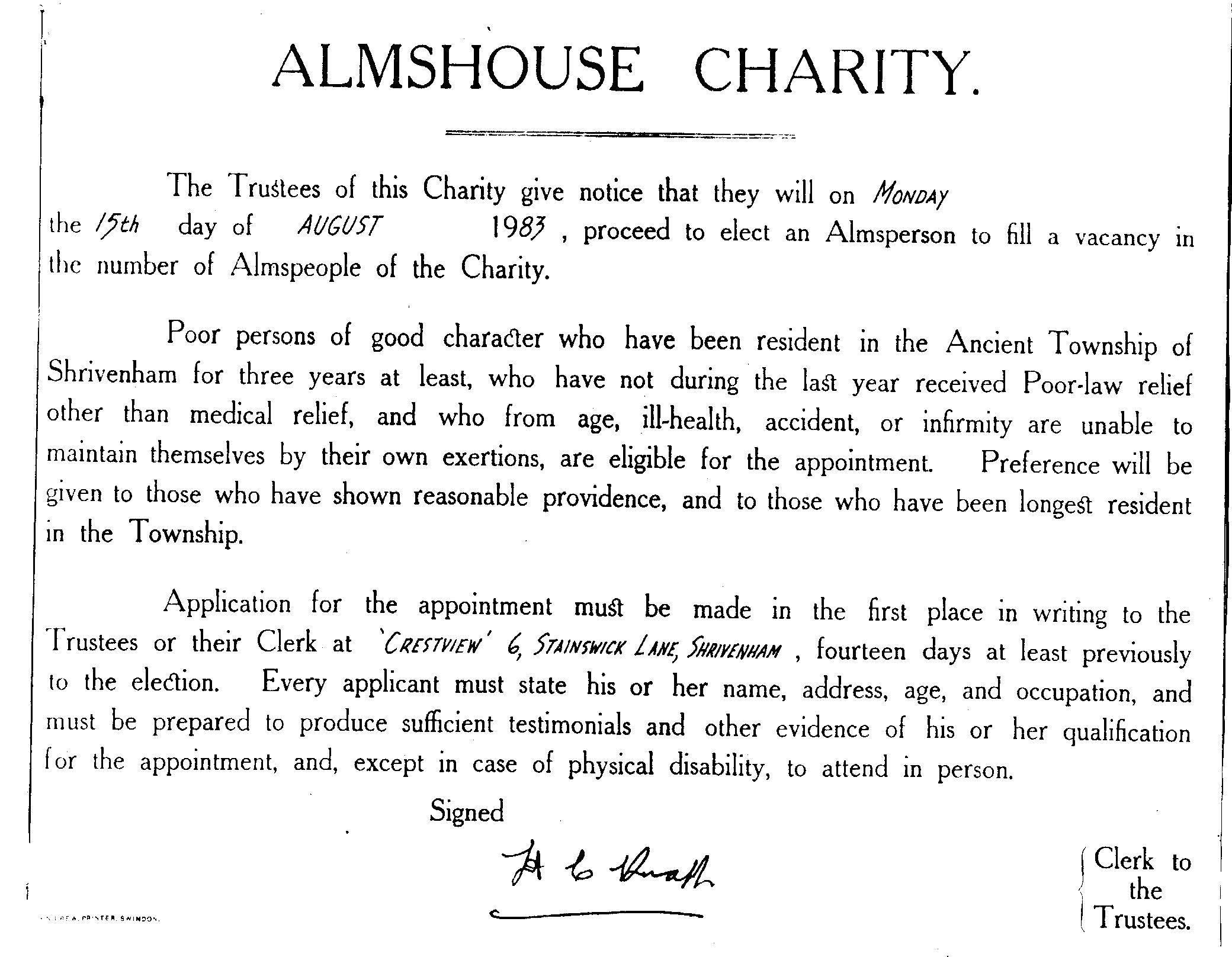 Advert for Almshouse Vacancy