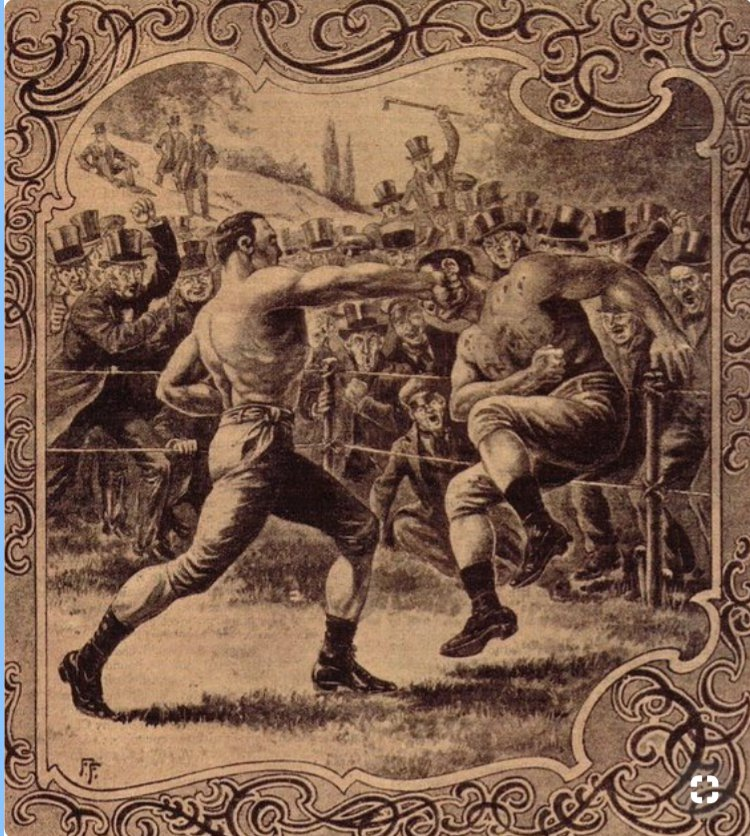 Picture featuring Harry Broome who fought at Acorn Bridge earlier. Picture from the Hulton Archive depicts a fight from 1855 between Harry Broome & Tom Paddock
