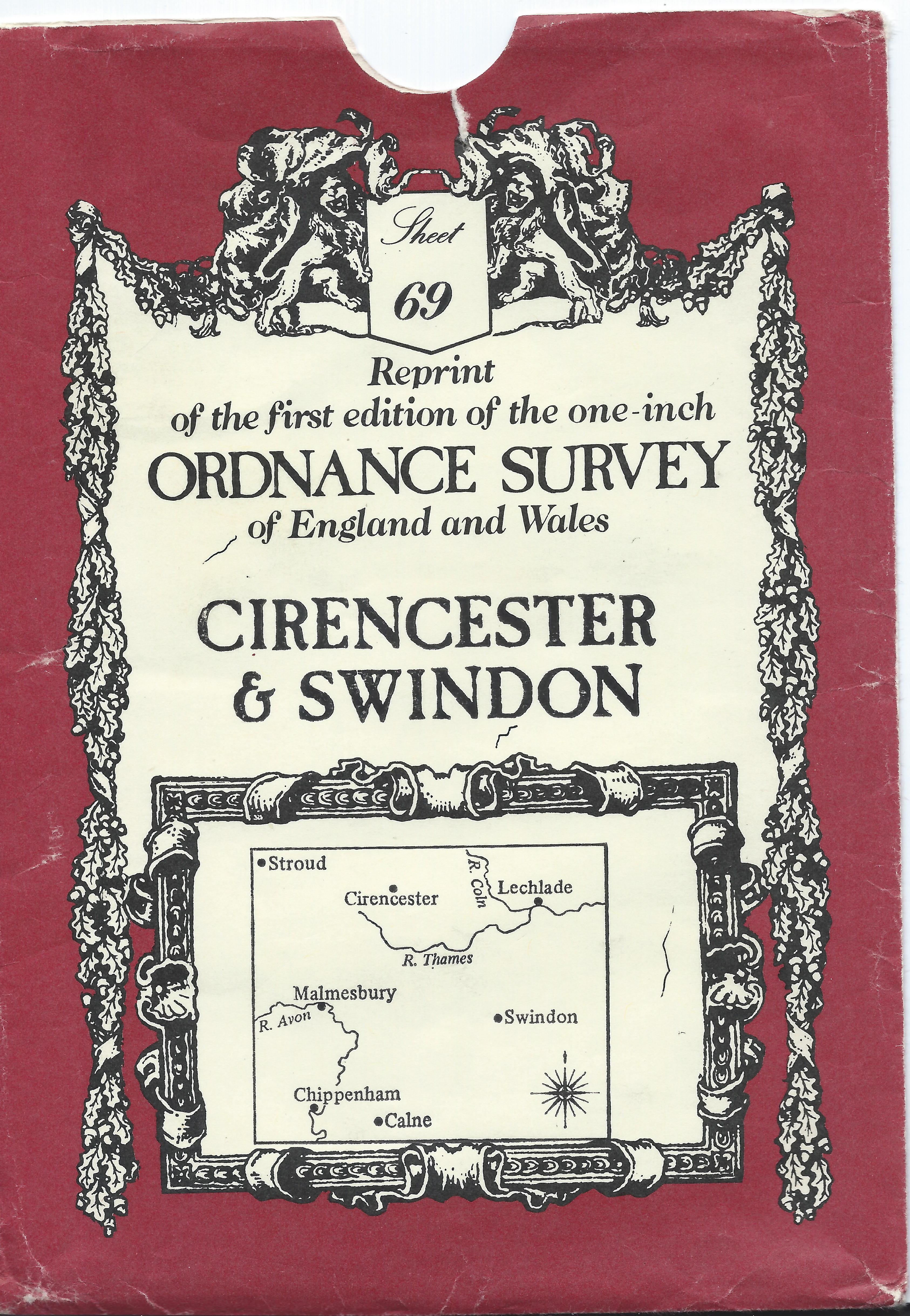 Ordnance Survey  1828 Map 69 One Inch map Cirencester & Swindon