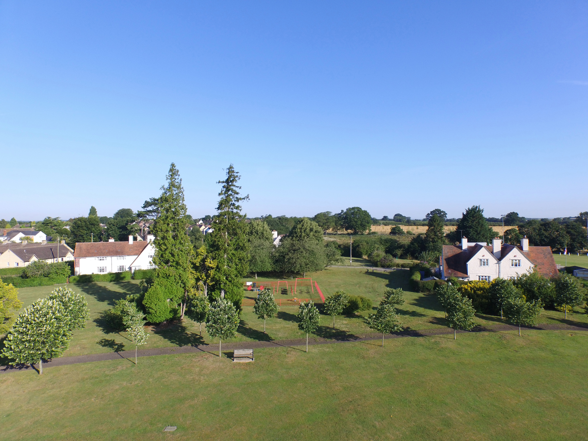 The Trust cottages in the Recreation Ground. Aerial photo by Neil B. Maw