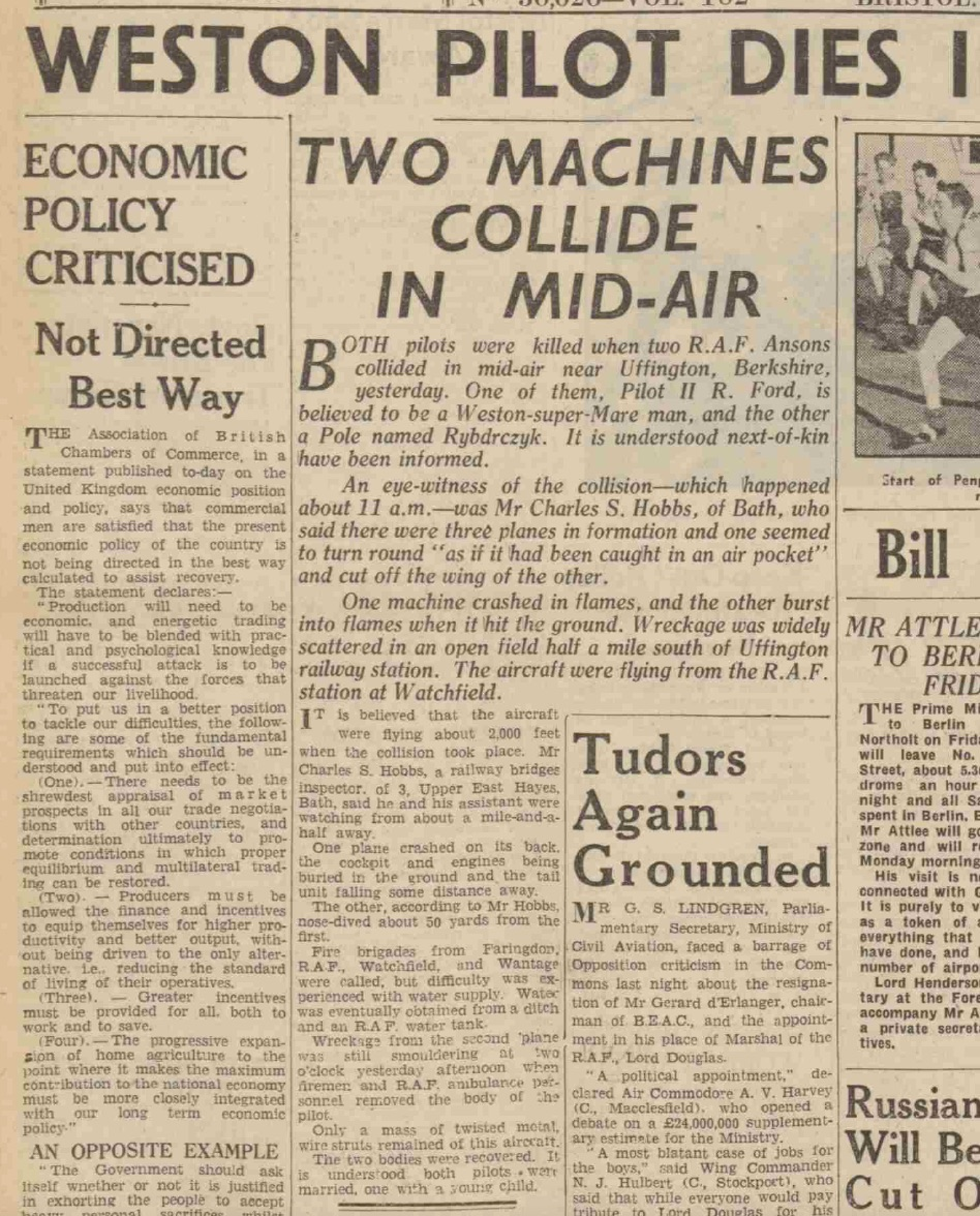 Article in Western Daily Press, Weds 2 March 1949, courtesy British Newspaper Archive