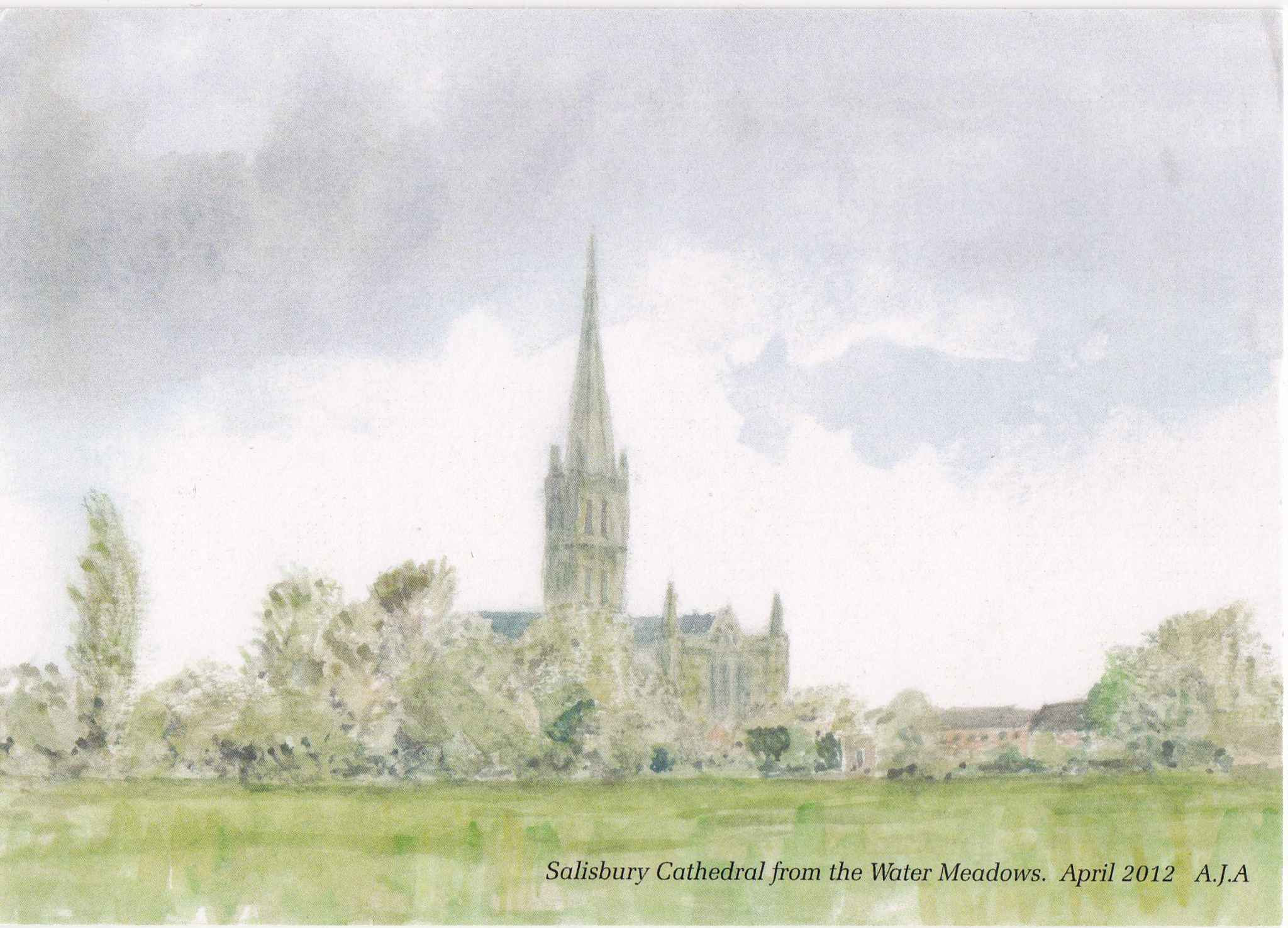 Front of the postcard - View of Salisbury cathedral painted by Anthony Anderson