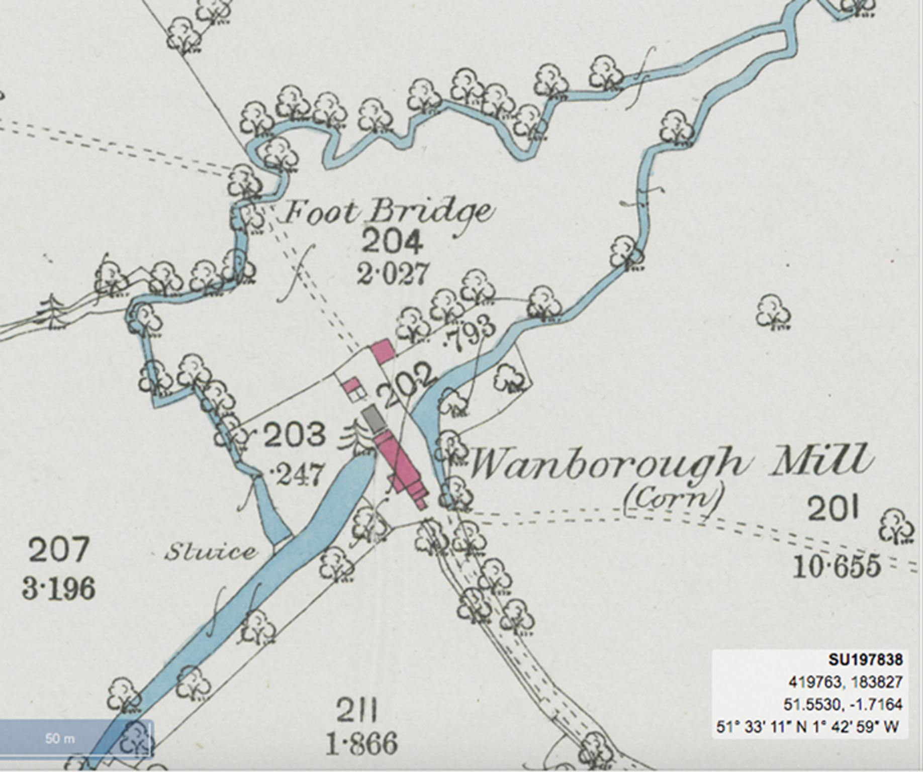 Location of the mill. Photo courtesy of National Library of Scotland.