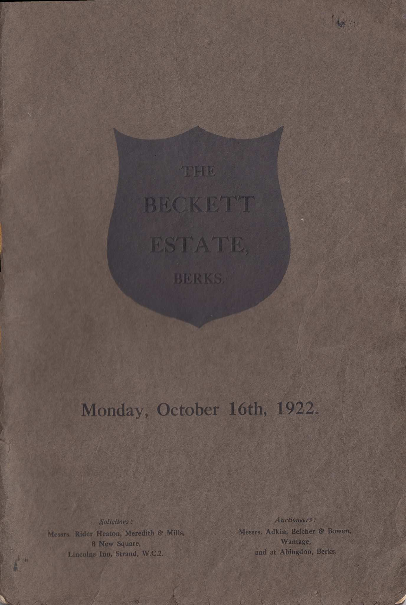 Front cover of the Catalogue