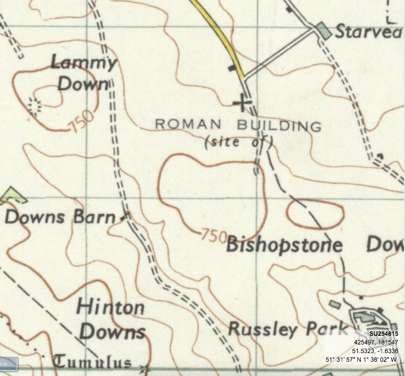Map showing the location of the Roman building. Courtesy of the National Library of Scotland georeferenced maps