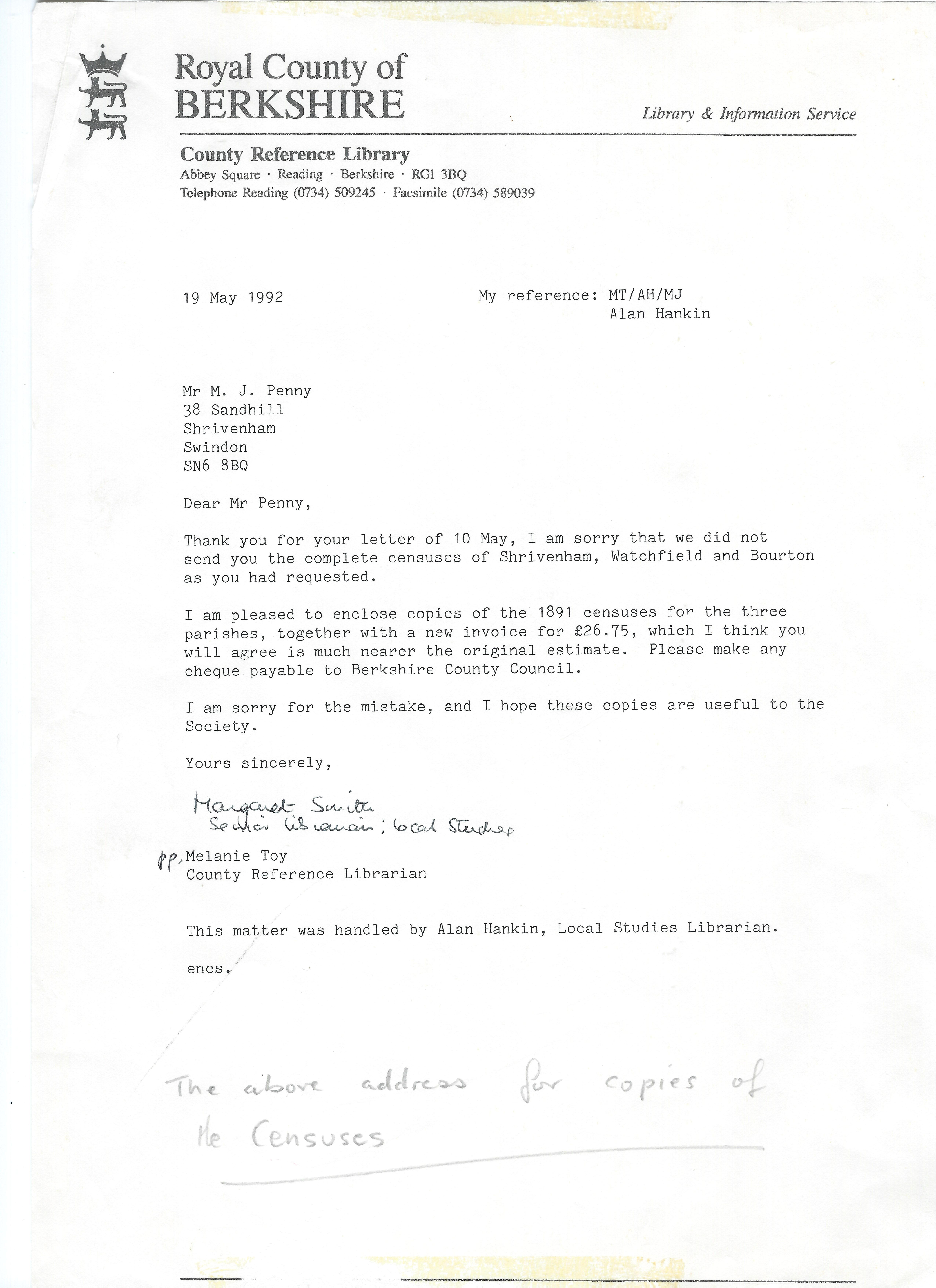 Letter to Merv Penny ref the photocopies of the Census papers