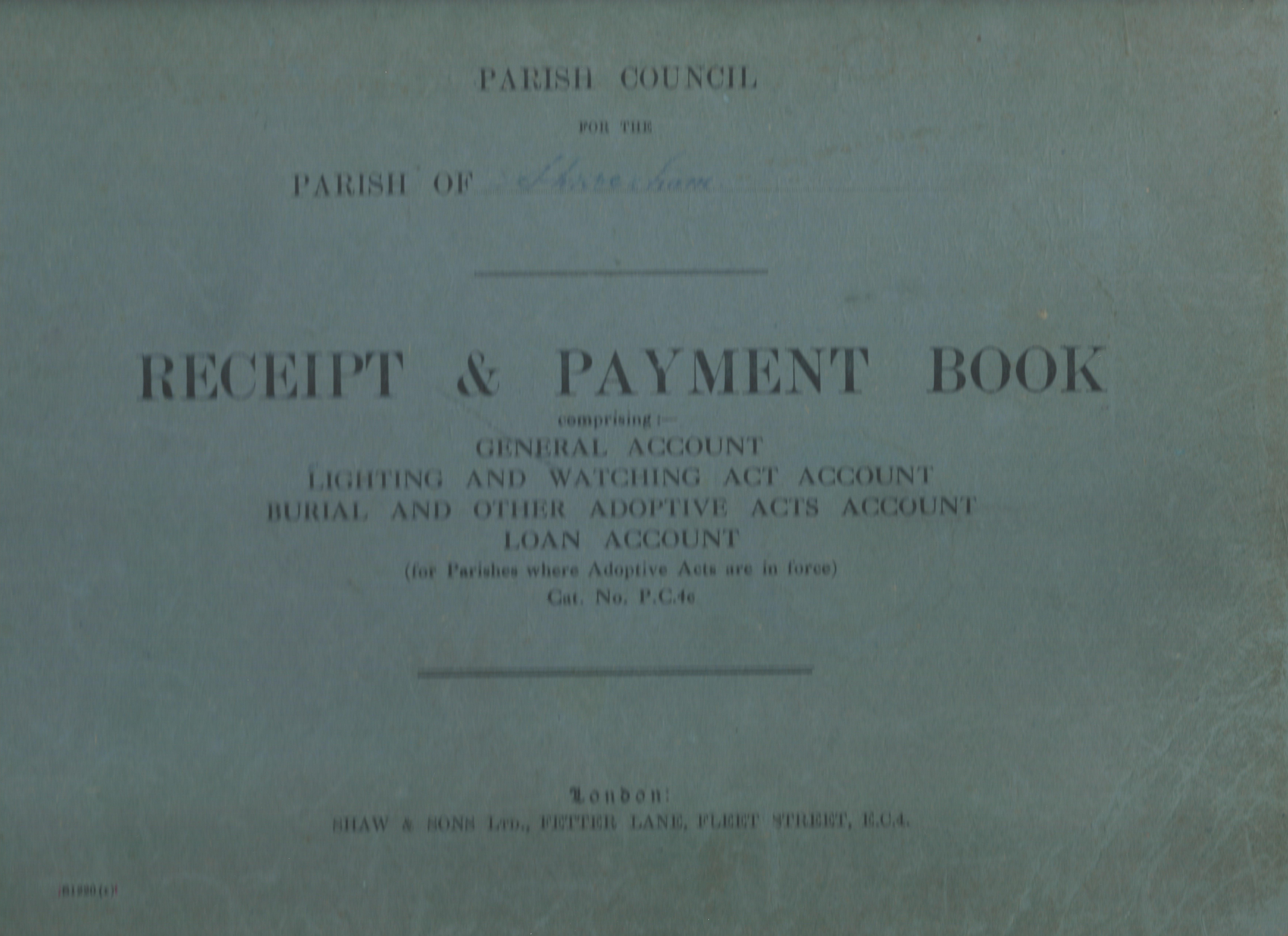 Accounts book front cover