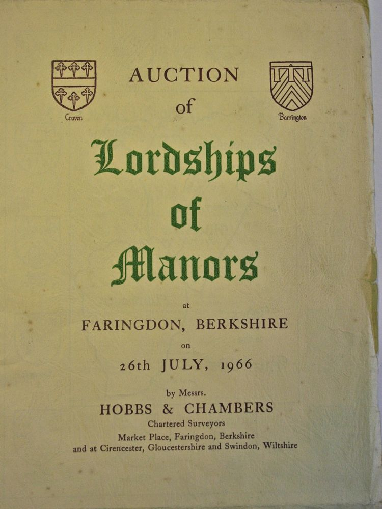 Auction of Lordships of Manors 1966