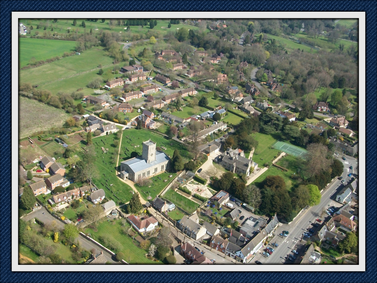 The centre of Shrivenham Village from the air