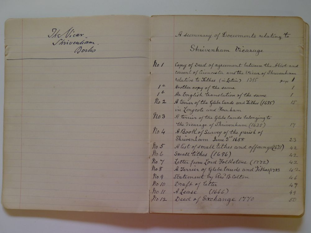 List of documents relating Vicarage