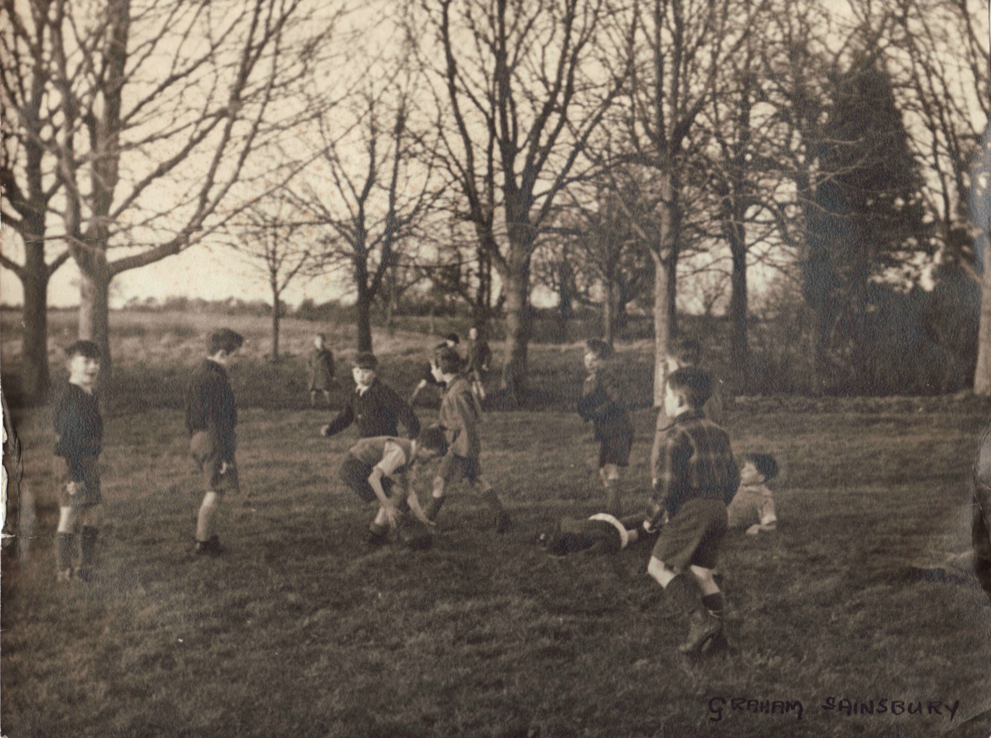 Class playing football in the Recreation Ground