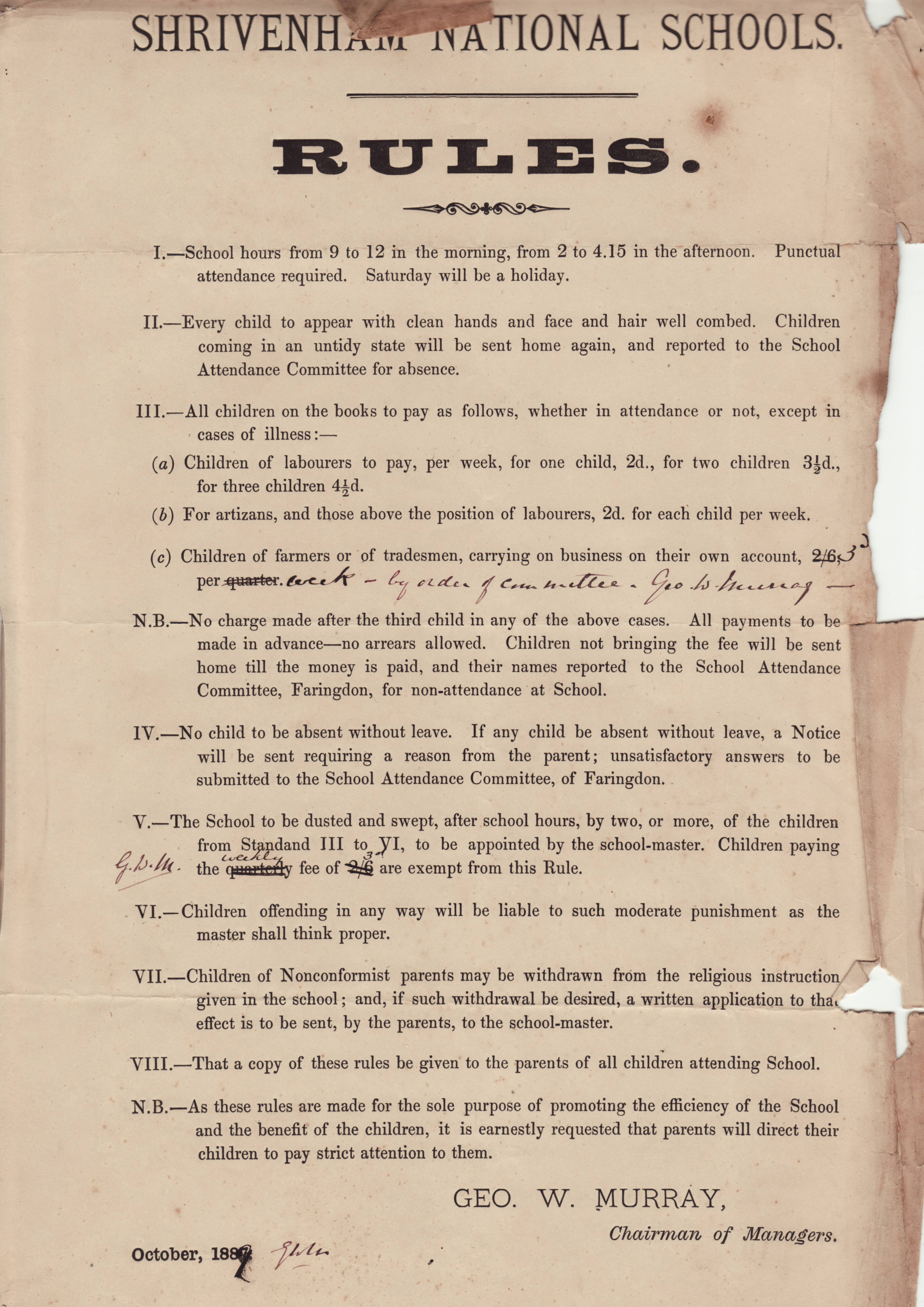School Rules of 1889