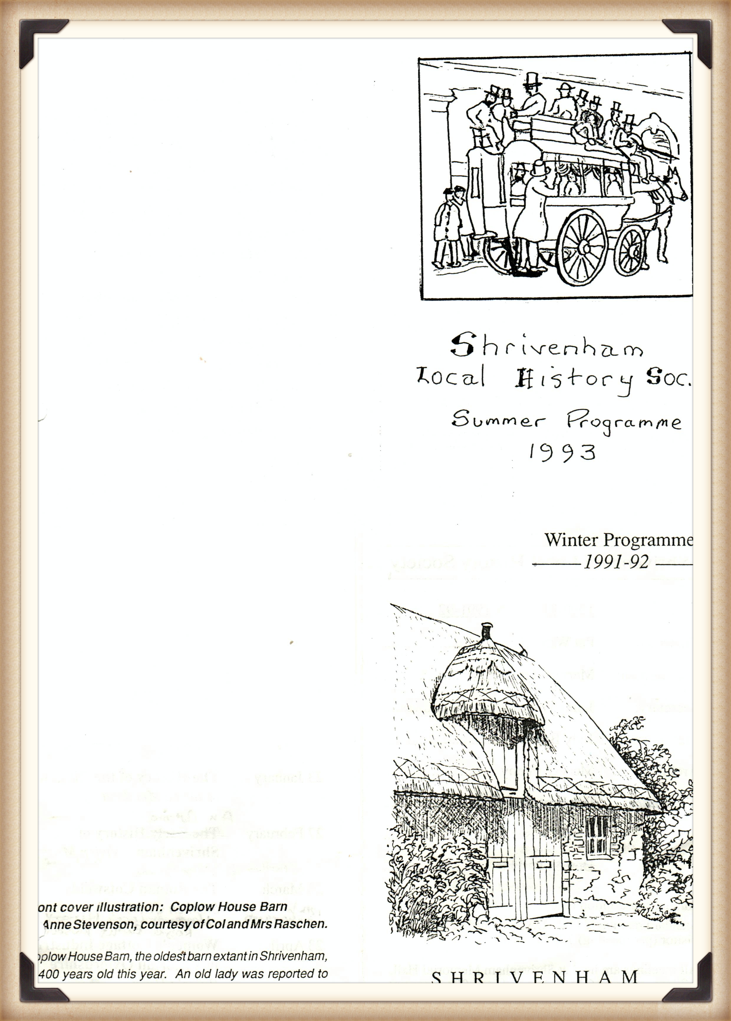 Front cover of SLHS Summer Programme 1993