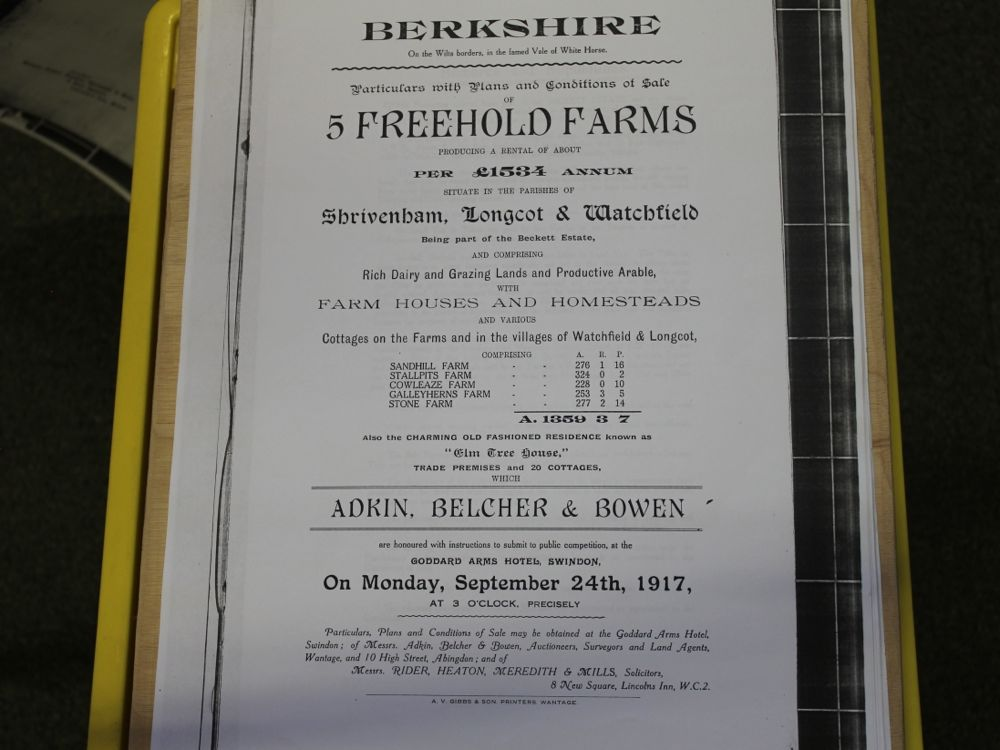 Auction 1917 of five freehold farms of Beckett Estate