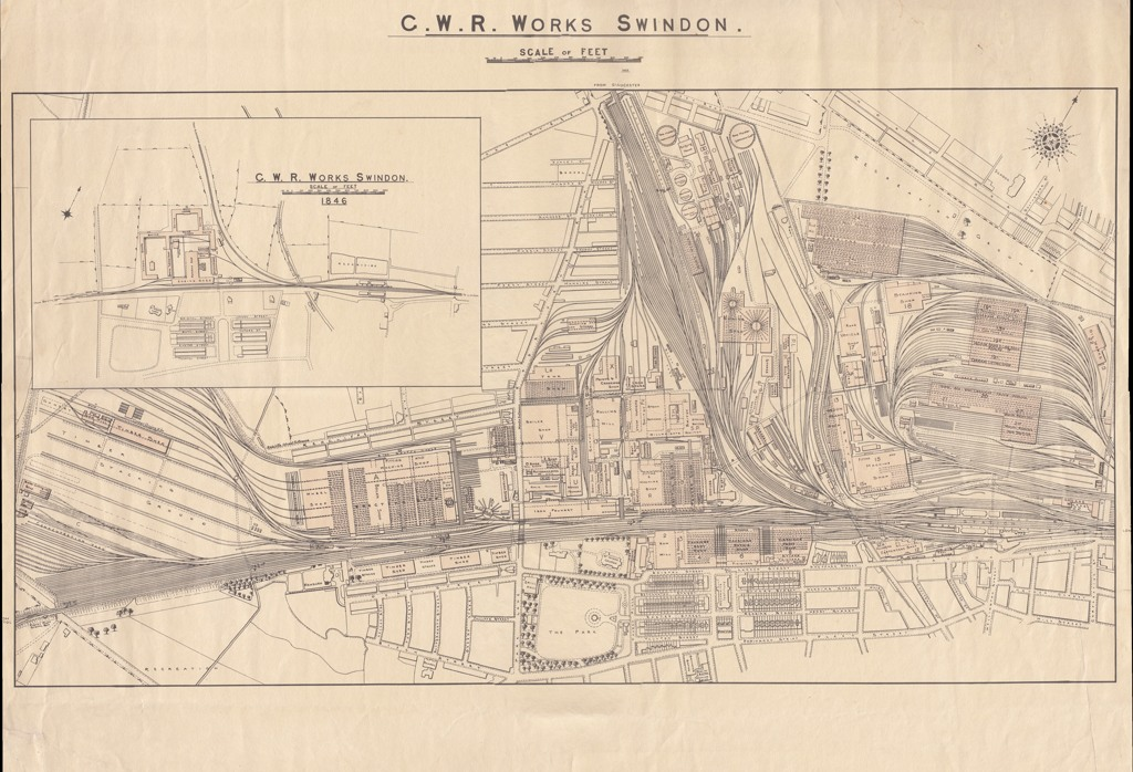 Printed Map of the GWR Railway Works at Swindon