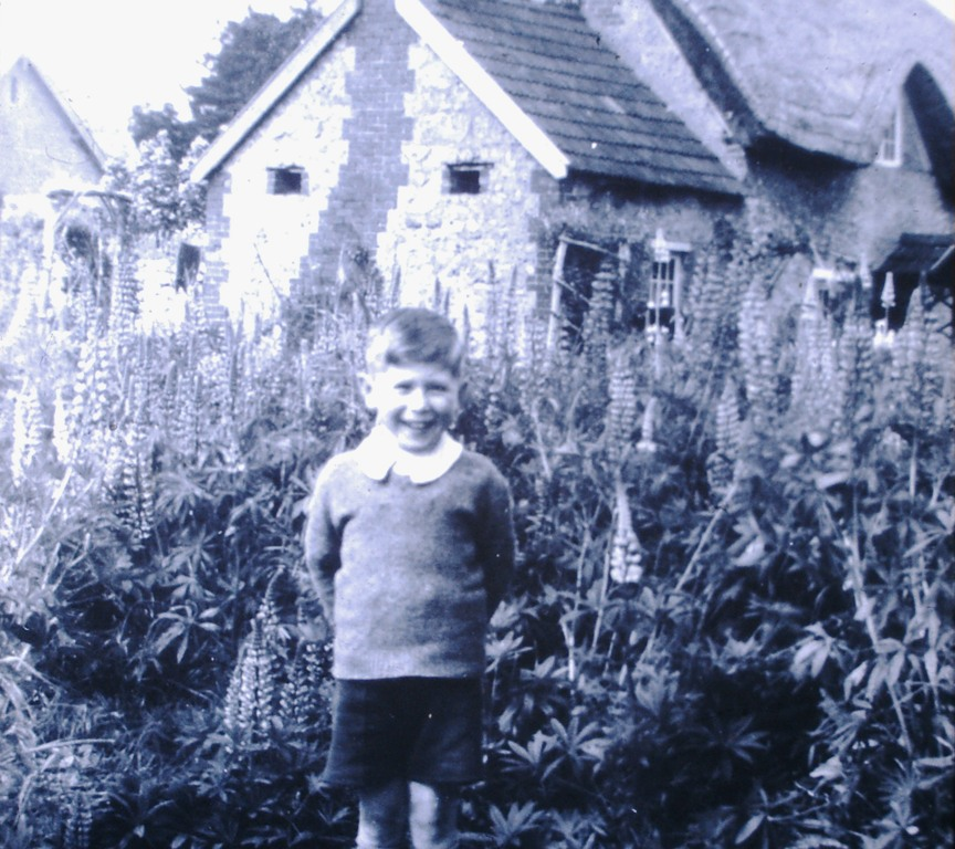 An unknown lad in the garden of a cottage in Shrivenham