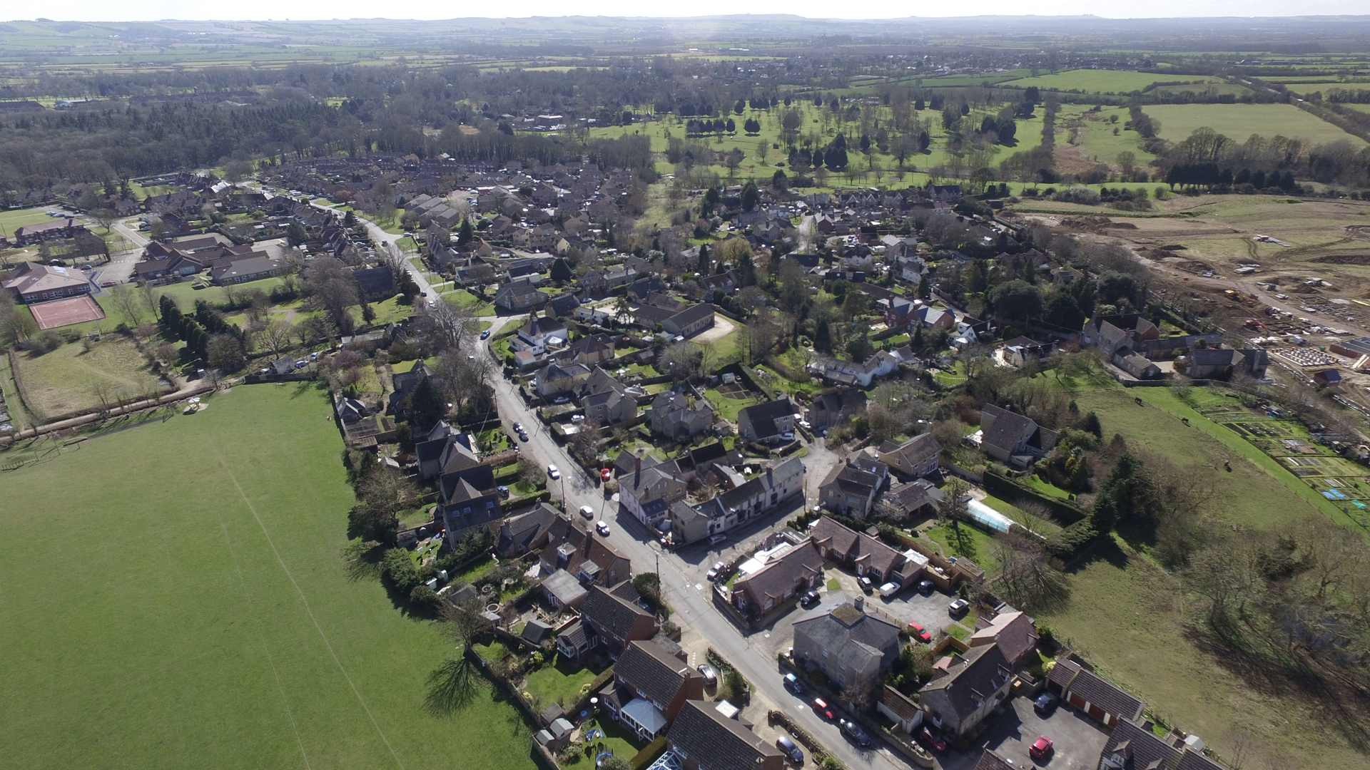 An aerial view of Watchfield Village courtesy of Neil B. Maw