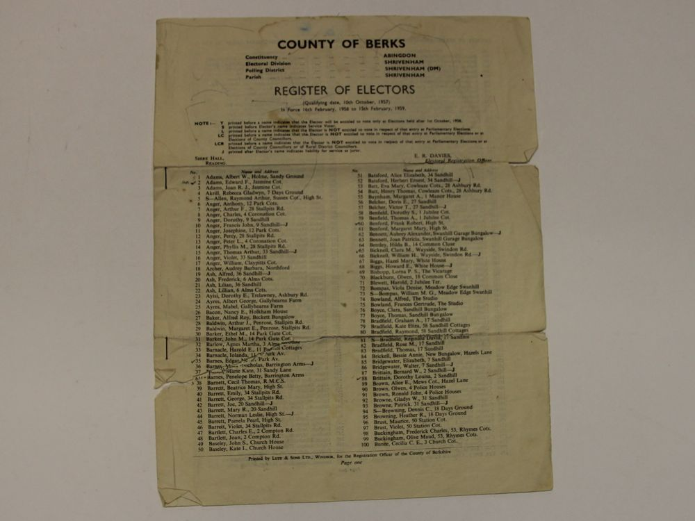Register of Electors in Shrivenham in County of Berkshire Feb 1958 to Feb 1959