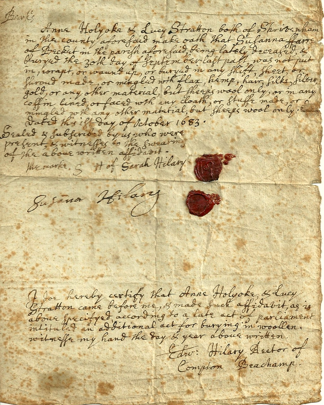 Original affidavit sworn by Anne Holyoke and Lucy Stratton 1683
