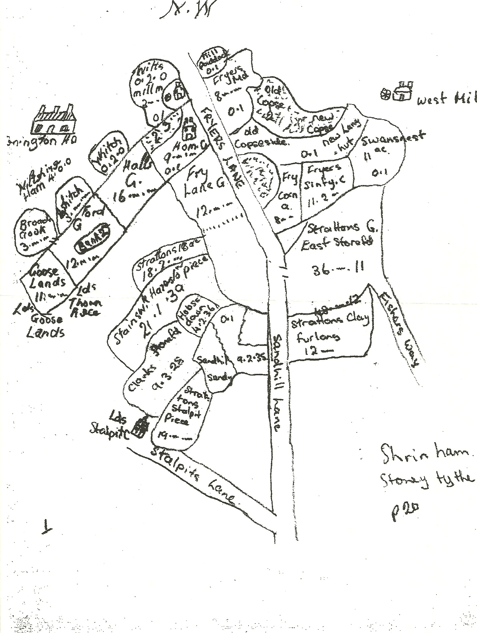 Sketch Map of Shrivenham Fields circa 1730.
