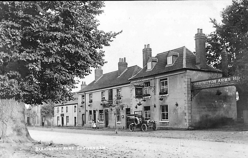 The Barrington Arms from the Cross Trees circa 1910. Note the motor car outside. Photo courtesy of Paul Williams