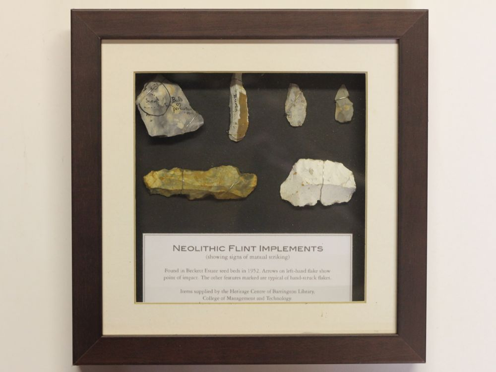 Neolithic flints in case frame