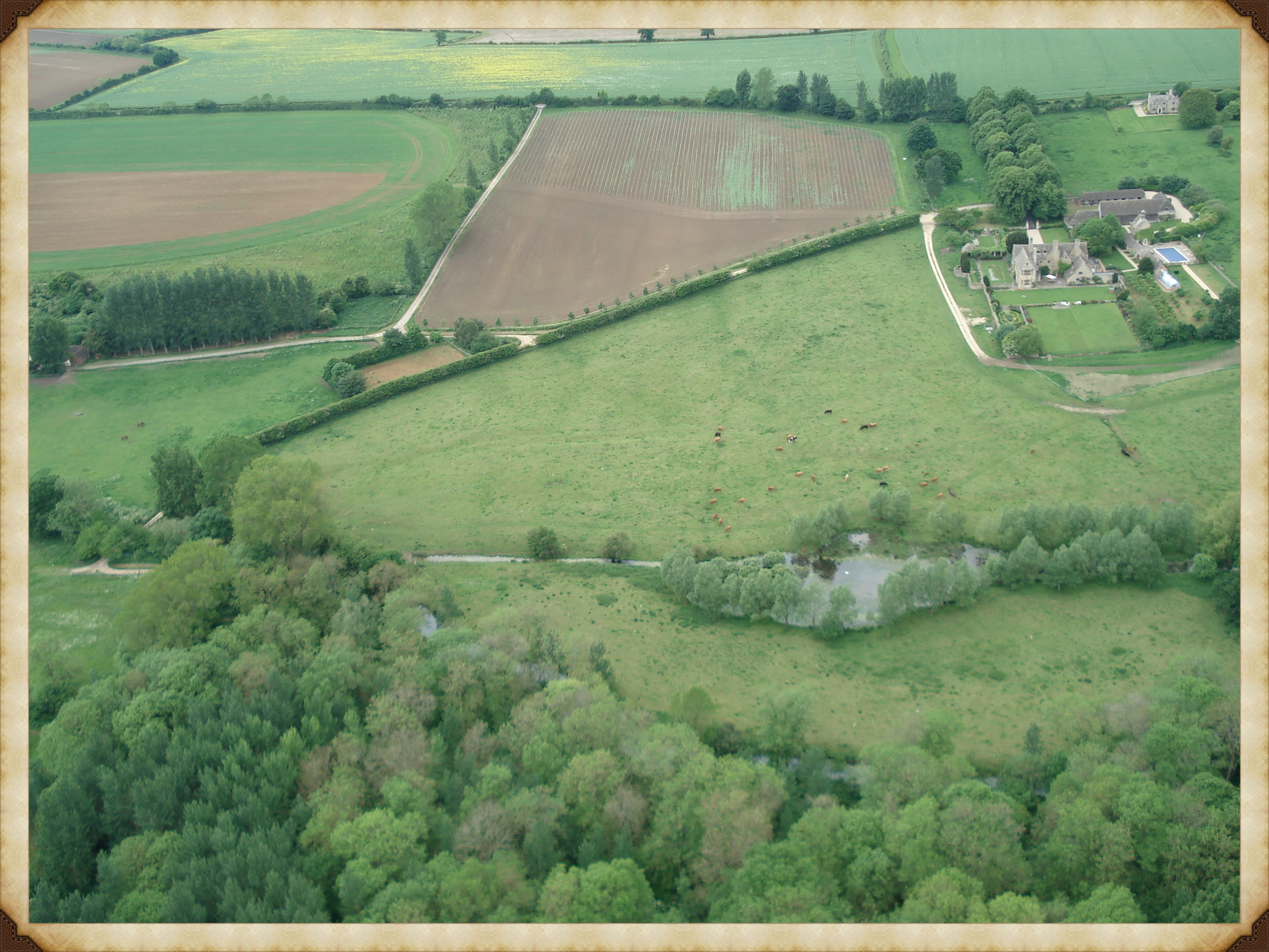 Photo by Neil B. Maw showing the outline of the Mediaeval Village.