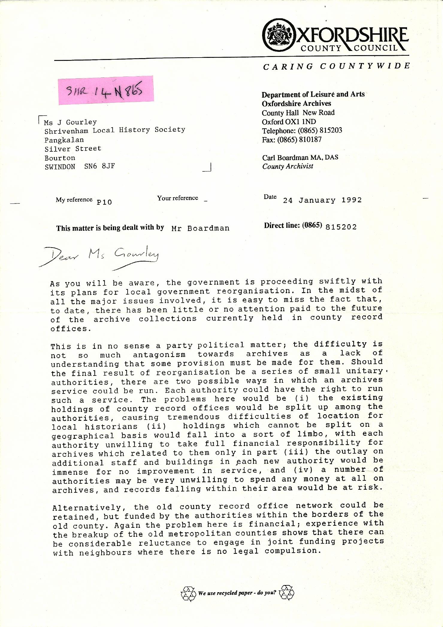 Oxfordshire CC Letter Page 1