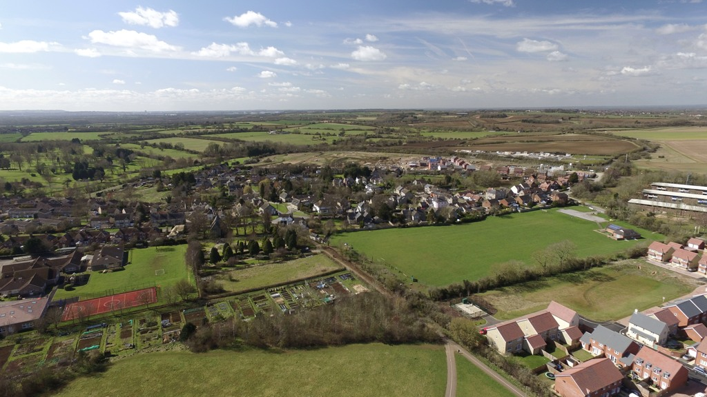 The village of Watchfield from the air. Photo by Neil B. Maw