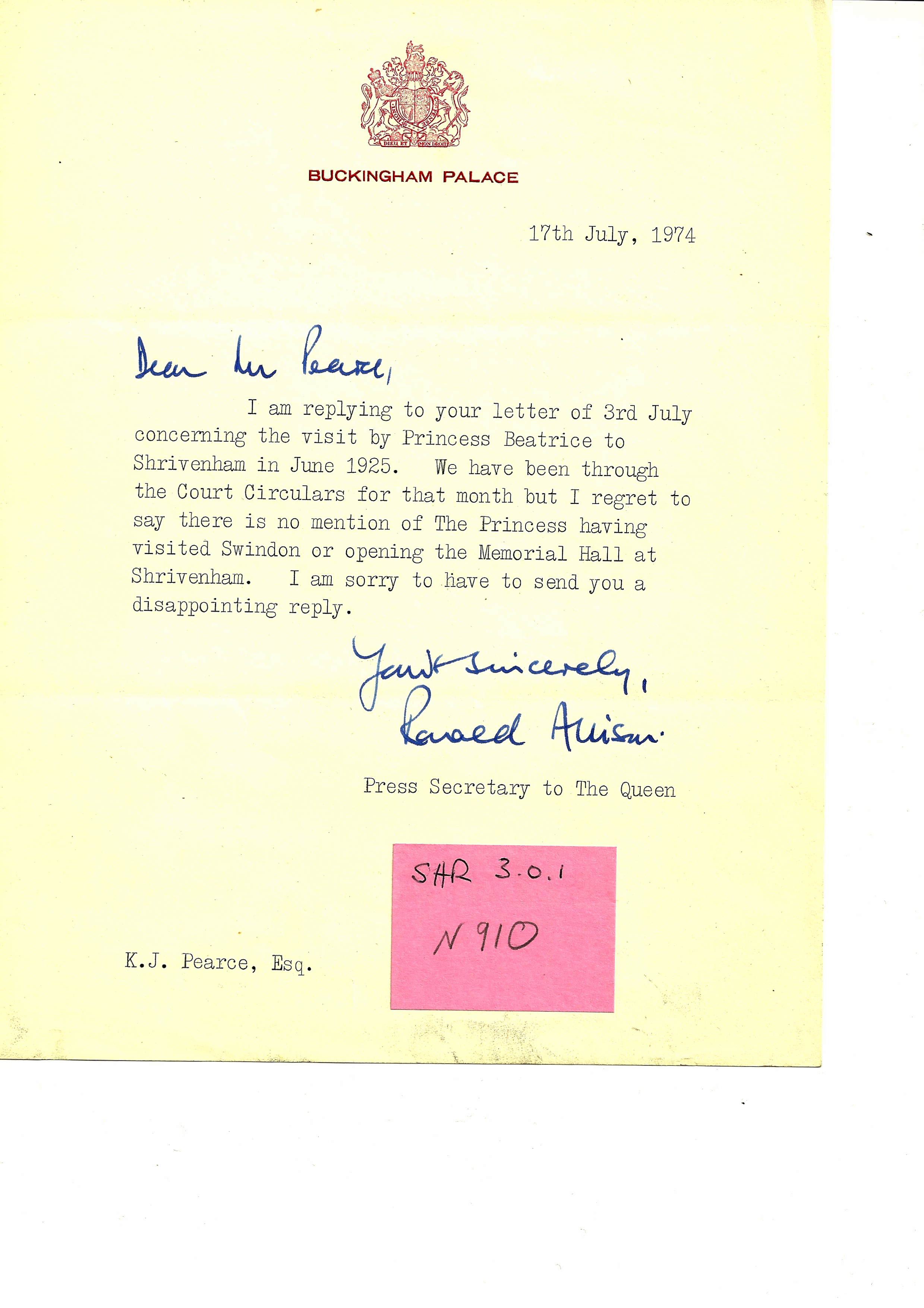 Letter from Buckingham Palace, Visit of Princess Beatrice in 1925.
