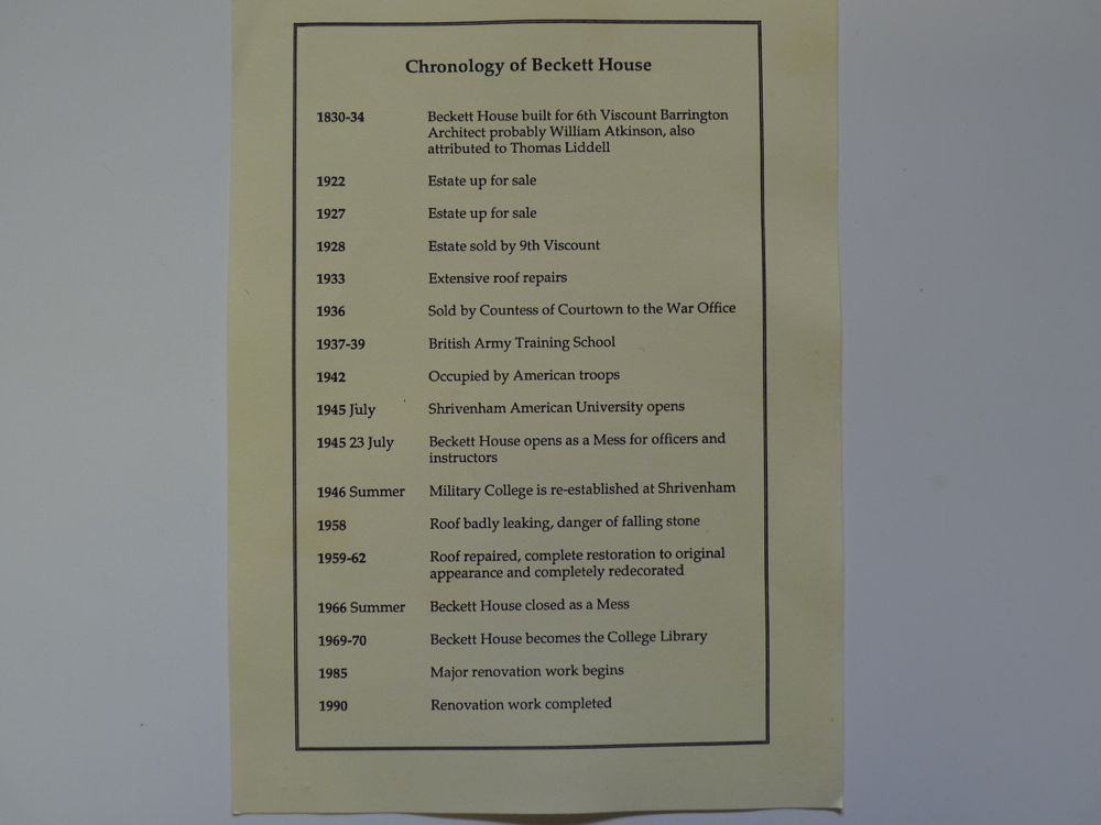 Chronology of Beckett House