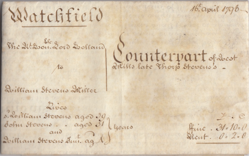 The Title page of the Indenture