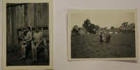 2 small photographs of Gould children on the farm