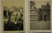 2 photographs Gould family with poultry