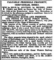 The advert offering the pub for sale from the Devizes & Wilts Gazette 26/10/1843