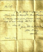 Letter from John Pusey to Crowdy Solicitor saying he is taking the tenure of the Barrington Arms