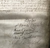 The Defendants signatures at the bottom of the Court Document. Photo courtesy of the National Archives Ref: C11/159/12